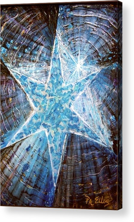 Heavy Texture Mosaic Six Point Star Multi Level Blue Acrylic Print featuring the painting Guiding Light by Pam Ellis
