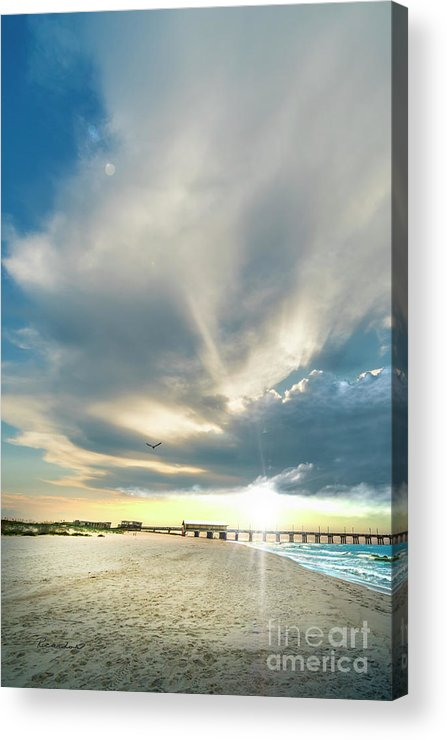 Al Acrylic Print featuring the photograph Gulf Shores Al Pier Seascape Sunrise 152a by Ricardos Creations