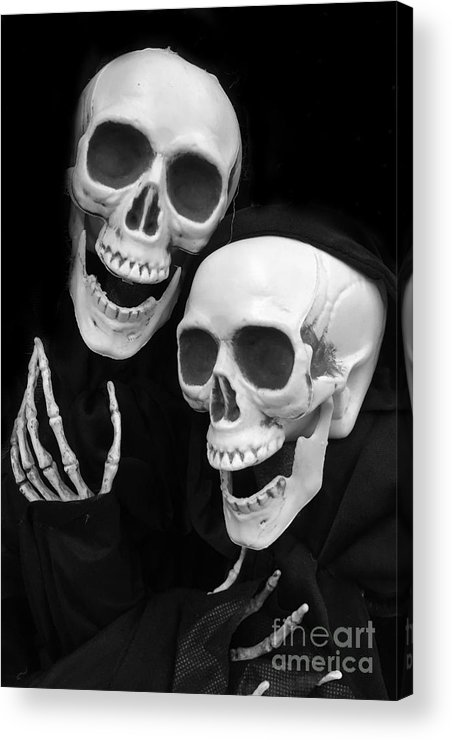 Skeletons Art Acrylic Print Featuring The Photograph Halloween Skeletons Black And White Halloween Skulls Skeleton