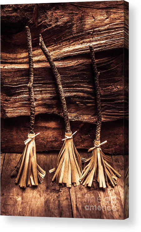Witch Acrylic Print featuring the photograph Halloween Witch Brooms by Jorgo Photography - Wall Art Gallery