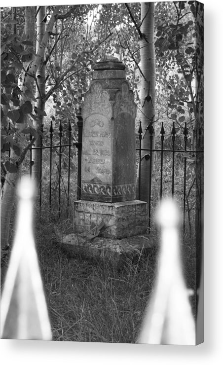 Black And White Acrylic Print featuring the photograph Headstone Near Central City Colorado by Robert Gladwin