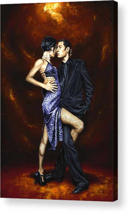 Tango Dancers Love Passion Female Male Woman Man Dance Acrylic Print featuring the painting Held In Tango by Richard Young