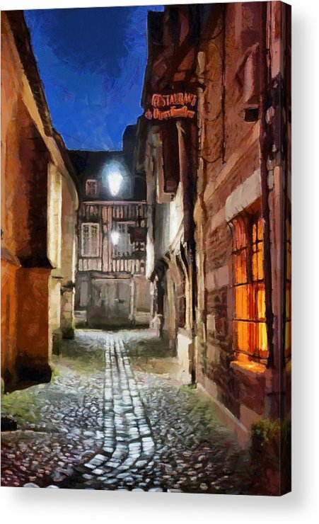 Charming Street Acrylic Print featuring the photograph Honfleur Street At Night by Lalo D'art
