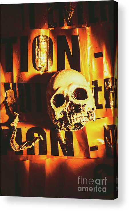Scary Acrylic Print featuring the photograph Horror Skulls And Warning Tape by Jorgo Photography - Wall Art Gallery