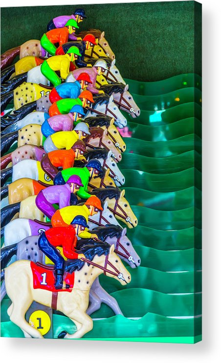 Carnival Horse Race Game Fair Acrylic Print featuring the photograph Horse Race Game by Garry Gay