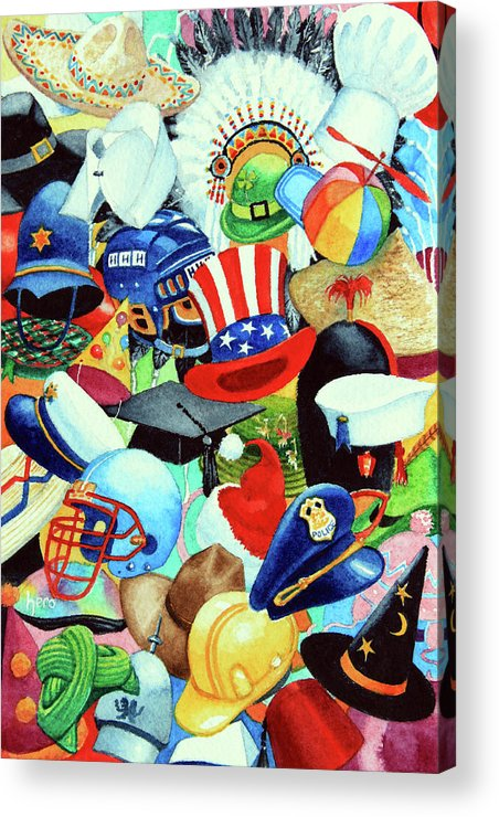 Hundreds Of Hats Art Print Acrylic Print featuring the painting Hundreds Of Hats by Hanne Lore Koehler