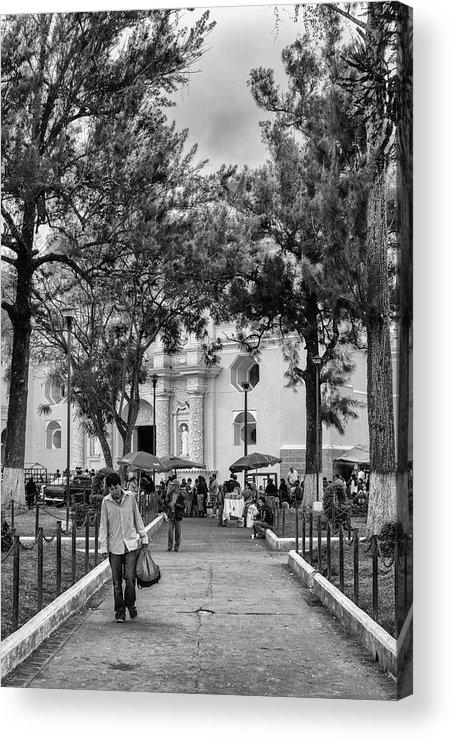 Antigua Guatemala Acrylic Print featuring the photograph Iglesia La Merced - Antigua Guatemala Bnw Ix by Totto Ponce