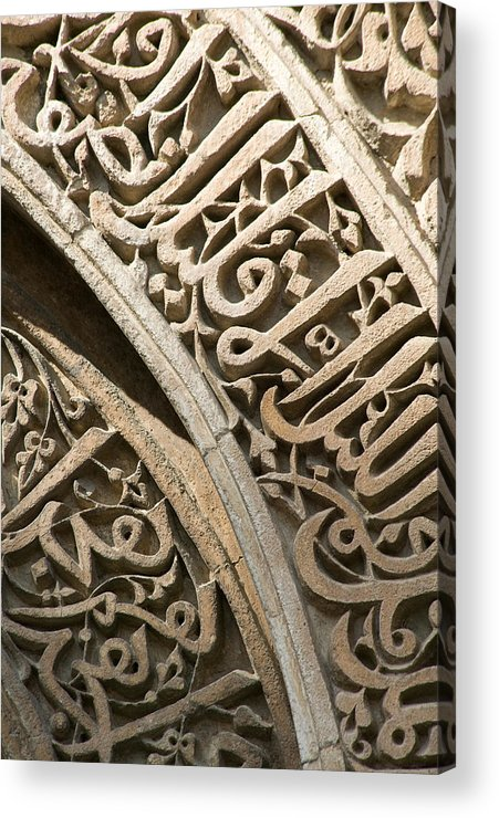 Stone Carving Acrylic Print featuring the photograph Indian Temple Scroll Detail 1 Of 3 by Ken Hayden
