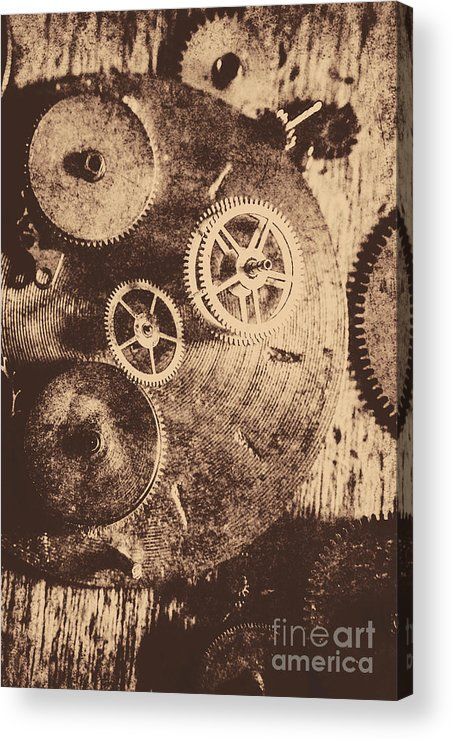 Vintage Acrylic Print featuring the photograph Industrial Gears by Jorgo Photography - Wall Art Gallery