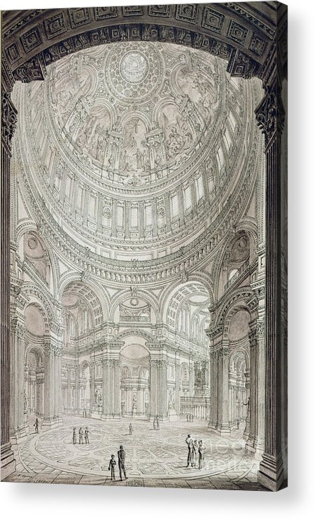 Church; Architecture; Dome; Baroque; Christopher Wren Acrylic Print featuring the drawing Interior Of Saint Pauls Cathedral by John Coney