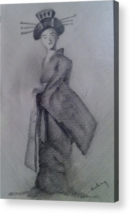 Pencil Acrylic Print featuring the drawing Japanese Doll With Drapery by Harish Krishnamurthy