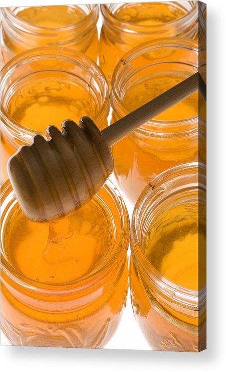 Honey Acrylic Print featuring the photograph Jarrs Of Honey by Garry Gay