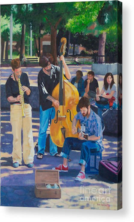 Musicians Acrylic Print featuring the digital art Jazz In The Park by Lou Spina