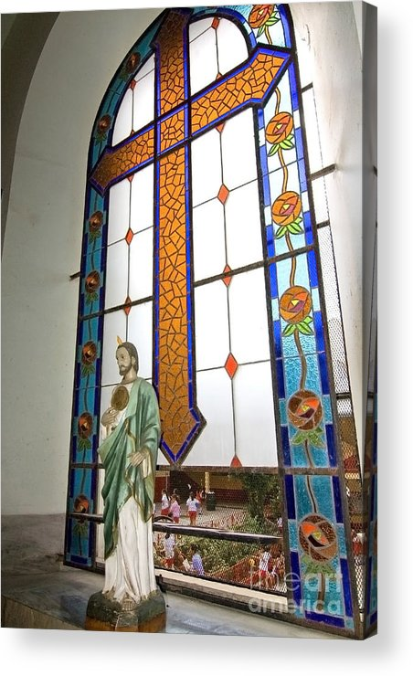 Jesus Acrylic Print featuring the photograph Jesus In The Church Window And School Girls In The Background by Sven Brogren