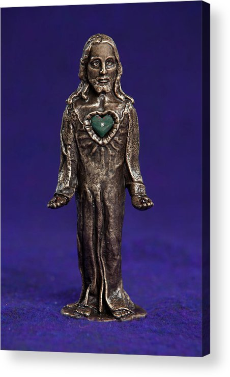 Jesus Acrylic Print featuring the sculpture Jesus Statue With Sacred Heart by Jasmina Agrillo Scherr
