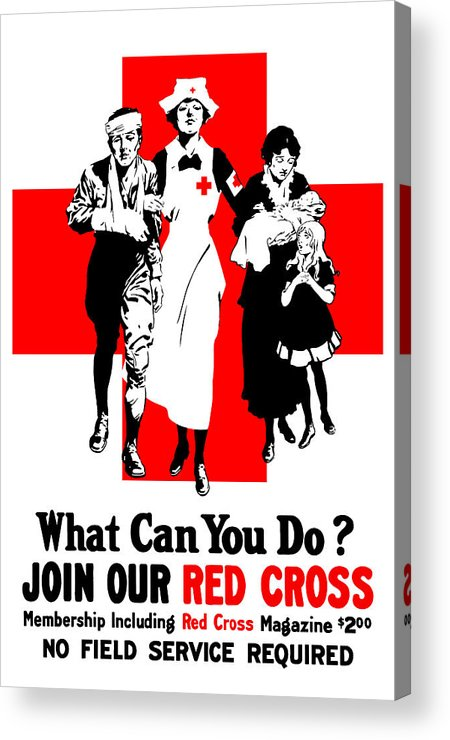Red Cross Acrylic Print featuring the painting Join Our Red Cross by War Is Hell Store