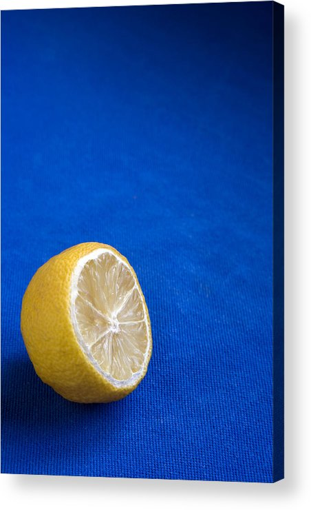 Blue Acrylic Print featuring the photograph Just A Lemon by Steve Outram
