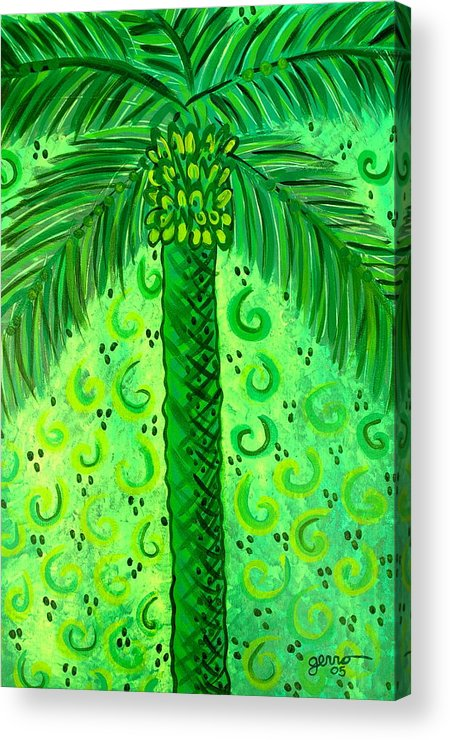 Palm Trees Acrylic Print featuring the painting Key Lime Palm by Helen Gerro