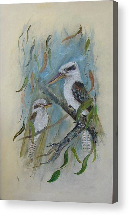 Birds Acrylic Print featuring the painting King Of The Woods by Rita Palm