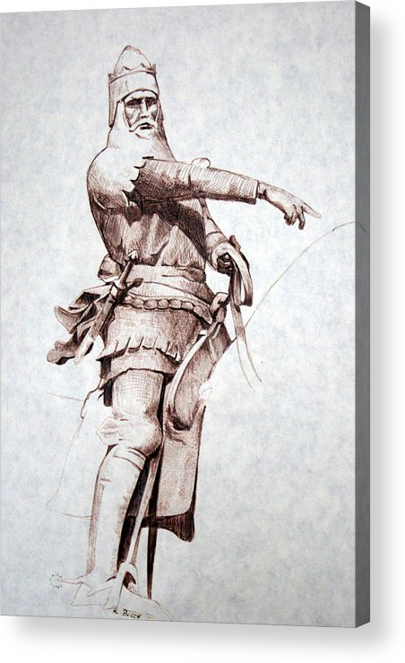 Pen And Ink Acrylic Print featuring the drawing Knight by Kerry Burch