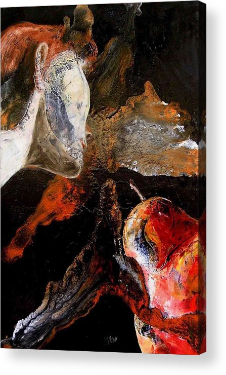 Face Acrylic Print featuring the painting Lady And A Huge Red Pear by Evguenia Men