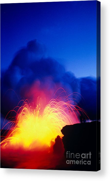 A'a Acrylic Print featuring the photograph Lava Explodes by Greg Vaughn - Printscapes
