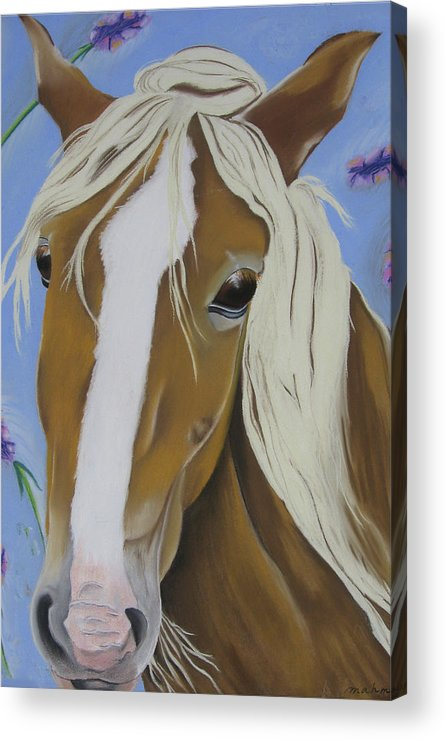 Horse Acrylic Print featuring the pastel Lavender Horse by Michelle Hayden-Marsan