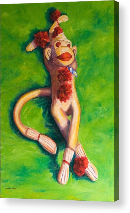 Sock Monkey Acrylic Print featuring the painting Life Is Good by Shannon Grissom