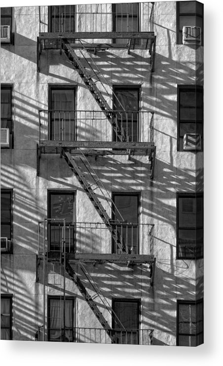 Black And White Acrylic Print featuring the photograph Light And Shadow On First Avenue by Robert Ullmann