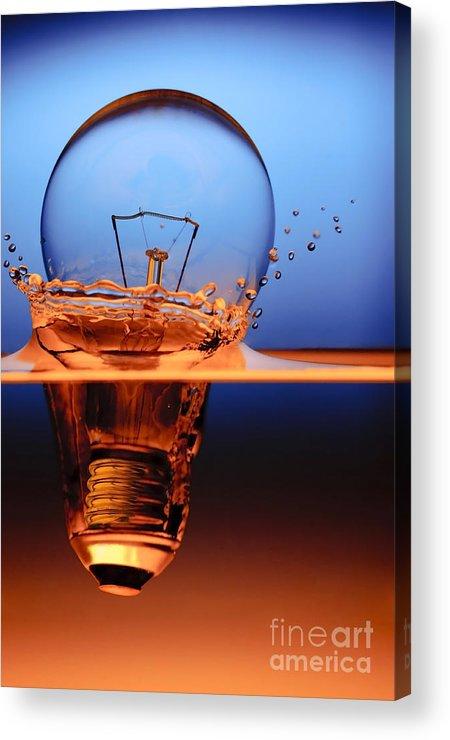 Alternative Acrylic Print featuring the photograph Light Bulb And Splash Water by Setsiri Silapasuwanchai