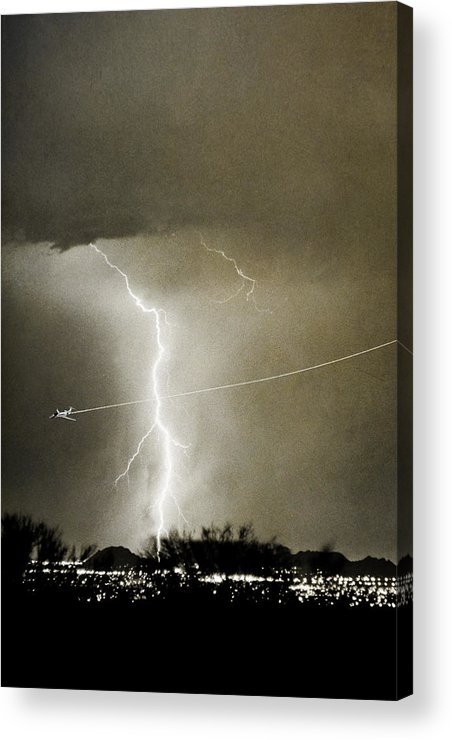 Lightning Acrylic Print featuring the photograph Lightning Storm City Lights Jet Airplane Fine Art Photography by James BO Insogna