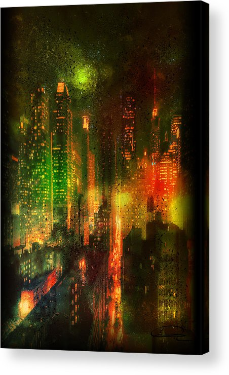 City Acrylic Print featuring the painting Lights In The City by Emma Alvarez