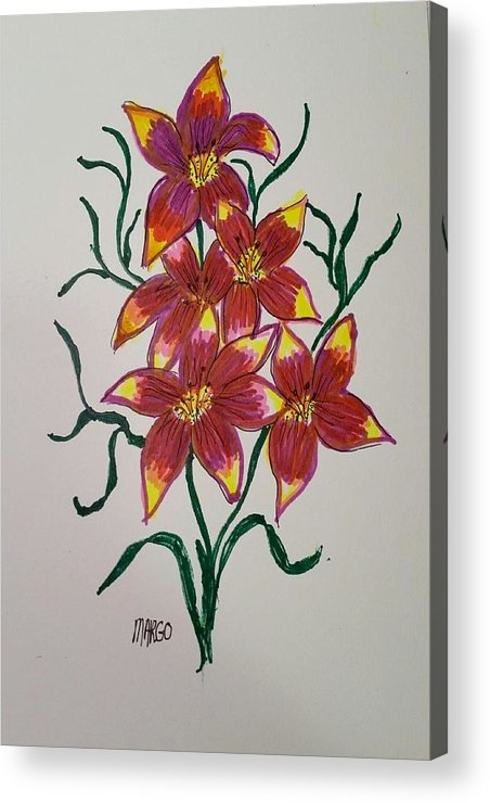 Lillies Acrylic Print featuring the drawing Lillies by Margo Washburn