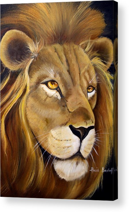 Animals Acrylic Print featuring the painting Lion Male by Ansie Boshoff