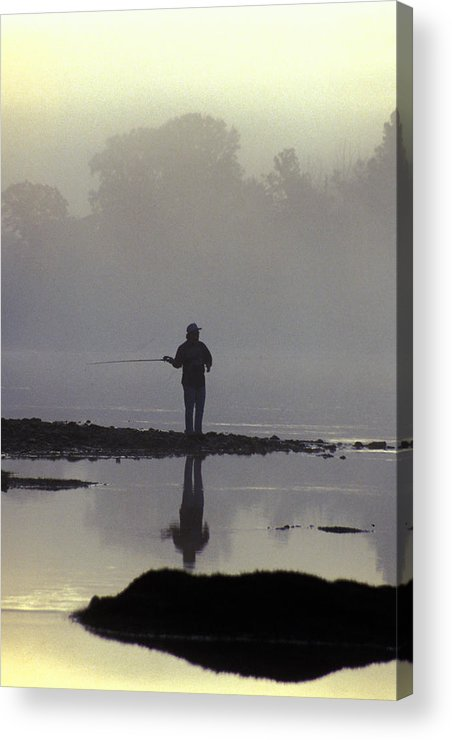 Early Acrylic Print featuring the photograph Lone Fisherman by Carl Purcell