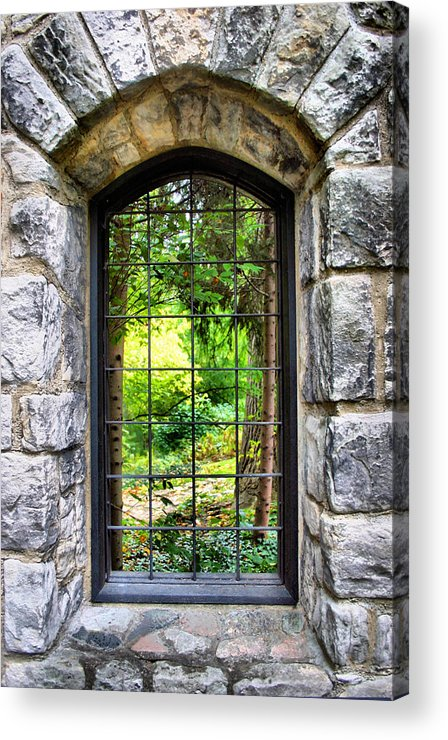 Stone Acrylic Print featuring the photograph Lushness Beyond The Walls by Kristin Elmquist