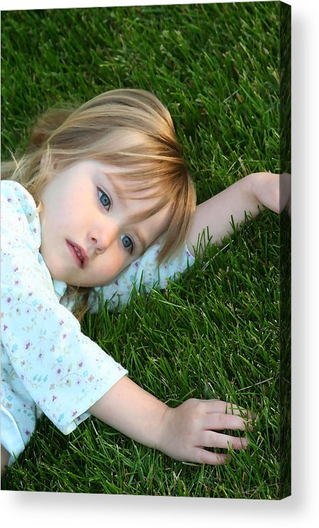 Girl Acrylic Print featuring the photograph Lying In The Grass by Margie Wildblood