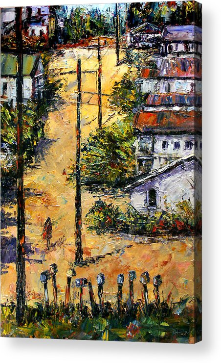 Chavez Revine Acrylic Print featuring the painting Mail Boxes Chavez Revine by Debra Hurd