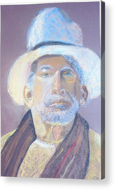 Portrait Acrylic Print featuring the painting Man In A Straw Hat by Deena Greenberg