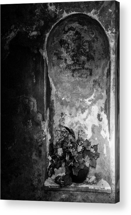 Black And White Acrylic Print featuring the photograph Mausoleum Flowers 2 by Scarlet Starr