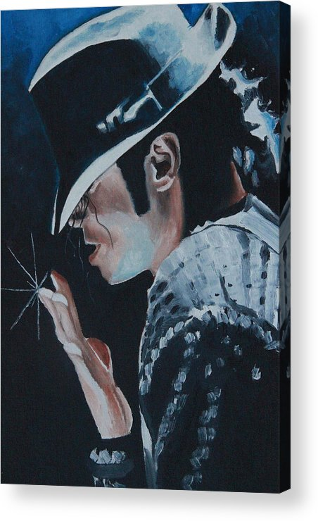 Michael Jackson Portrait Acrylic Print featuring the painting Michael Jackson by Mikayla Ziegler