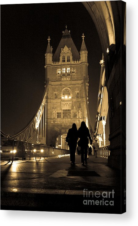 London Acrylic Print featuring the photograph Midnight Stroll Over The Bridge by Joshua Francia