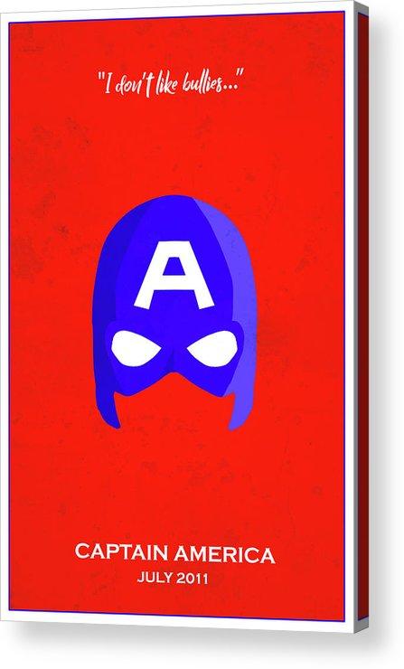 Captain America Acrylic Print featuring the digital art Minimal Movie Poster IIi by Ricky Barnard