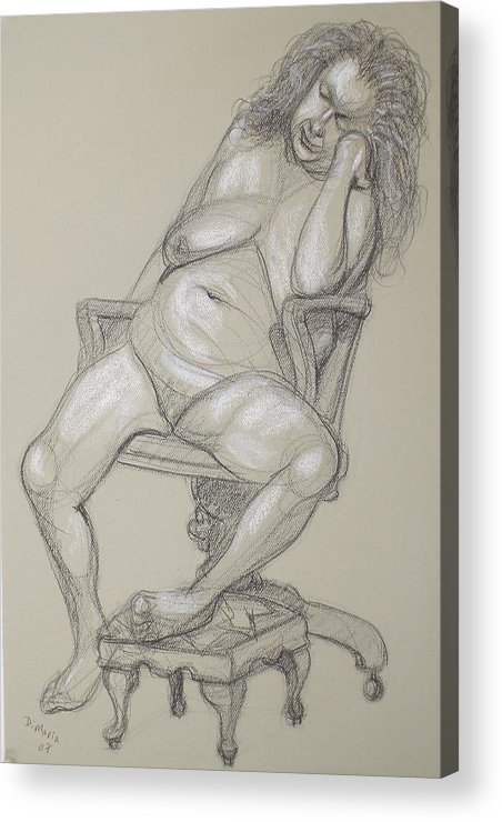 Realism Acrylic Print featuring the drawing Miriam 1 by Donelli DiMaria
