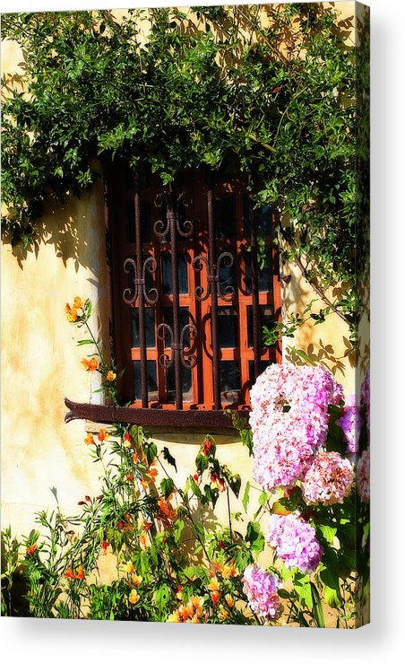 Photo Acrylic Print featuring the photograph Mission Window 1 by Alan Hausenflock