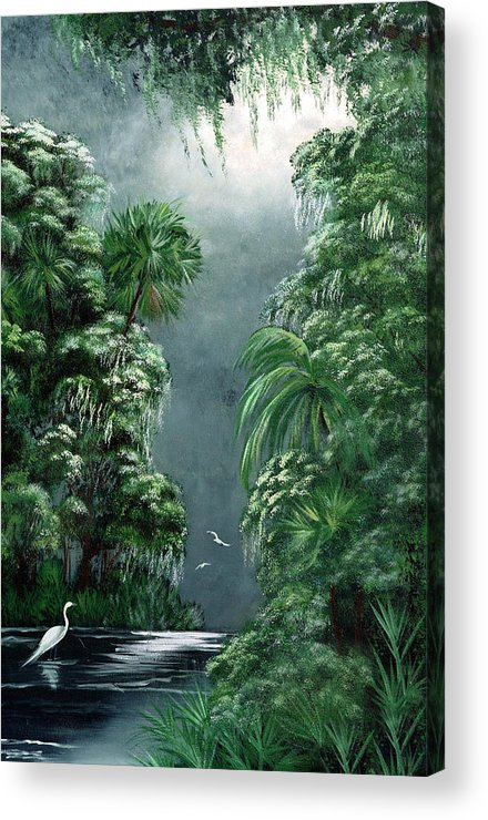 Swamp Acrylic Print featuring the painting Moonlight Swamp by Darlene Green