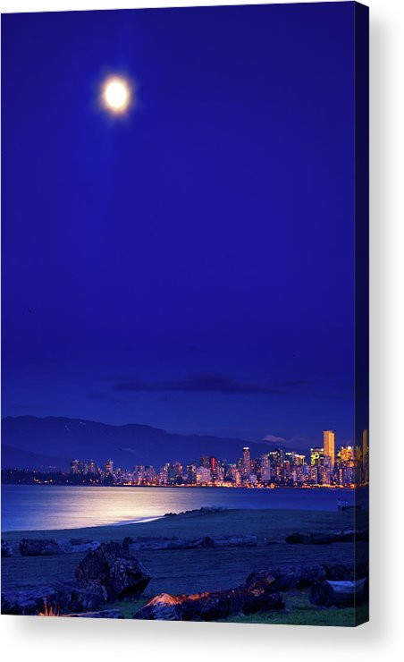 Moon Acrylic Print featuring the photograph Moonlit Vancouver by Paul Kloschinsky