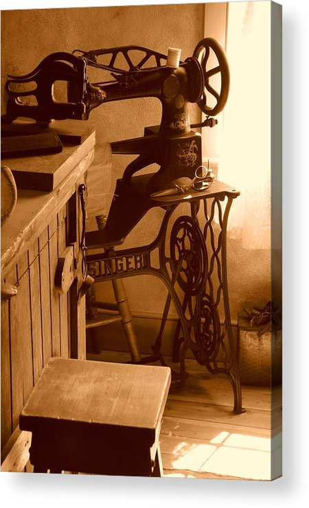 Sepia Acrylic Print featuring the photograph Mormon Singer Sewing Machine by Dennis Hammer