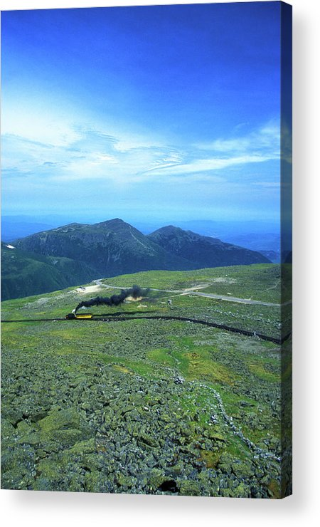 New Hampshire Acrylic Print featuring the photograph Mount Washington Summit Cog Railroad by John Burk