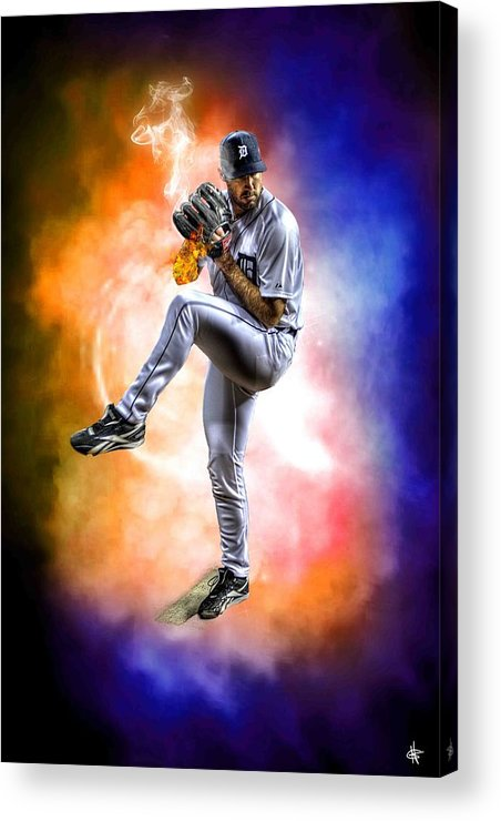 Cy Young Acrylic Print featuring the photograph Mr. Justin Verlander by Nicholas Grunas
